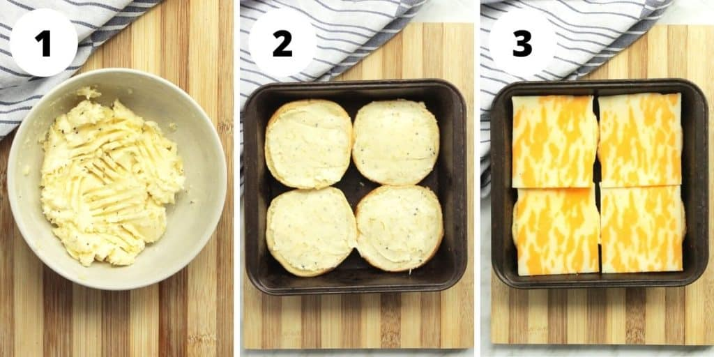 Three shots to show how to make the garlic bread