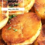 Pinterest image. Crispy fried potato slices with text