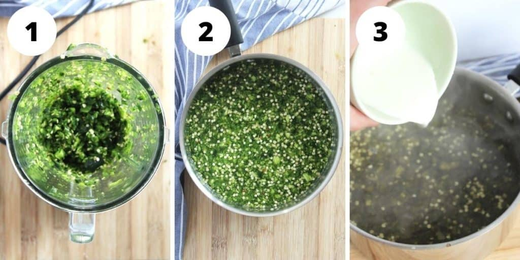 Three shots to show how to make the jalapeno jelly