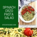 Pinterest graphic. Spinach orzo salad with text