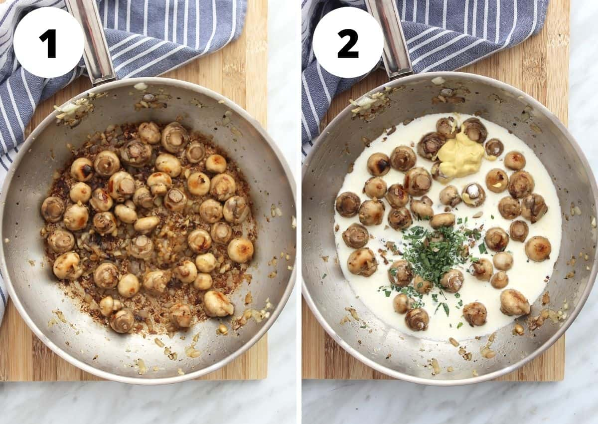 Tow photos to show how to make the recipe in a skillet