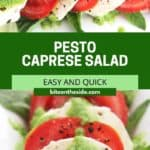 Pinterest graphic. Pesto caprese salad with text.