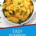 Pinterest graphic. Pumpkin mash with text.