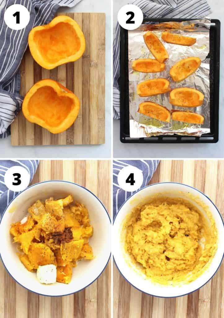 Four step by step photos to show how to make the recipe.
