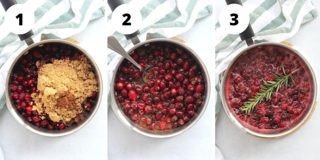 Three step by step shots to show how to make the cranberry sauce.