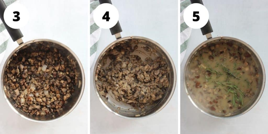 Three step by step photos to show the cooked down mushrooms, stirring in the flour and adding the stock.