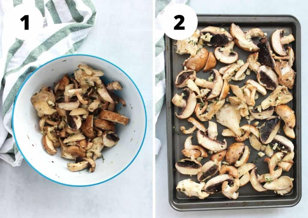 Two photos to show mixing the mushrooms with the butter and laying them on a baking sheet.