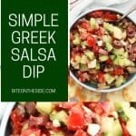 Pinterest graphic. Greek salsa with text.
