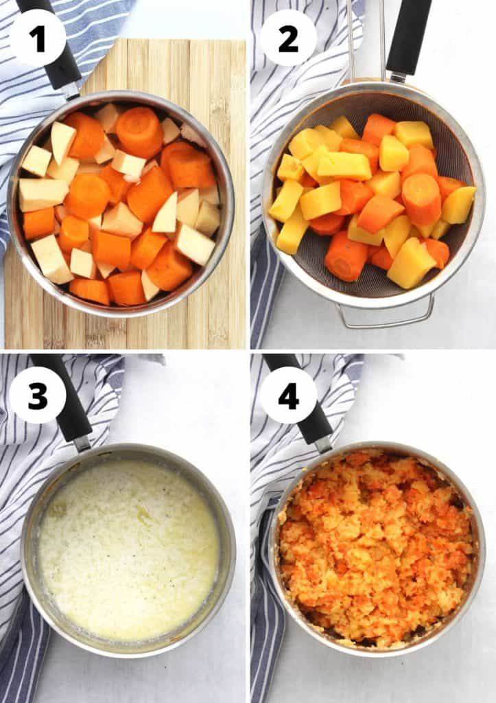 Four process shots to show how to make the recipe.