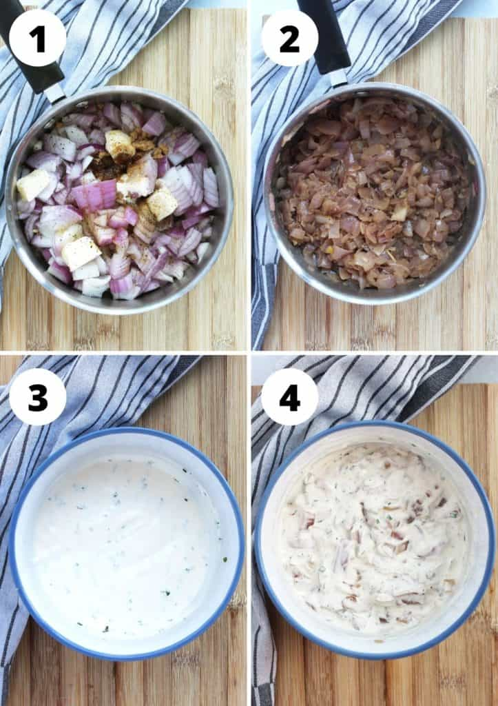Four step by step shots to show how to make the dip recipe.