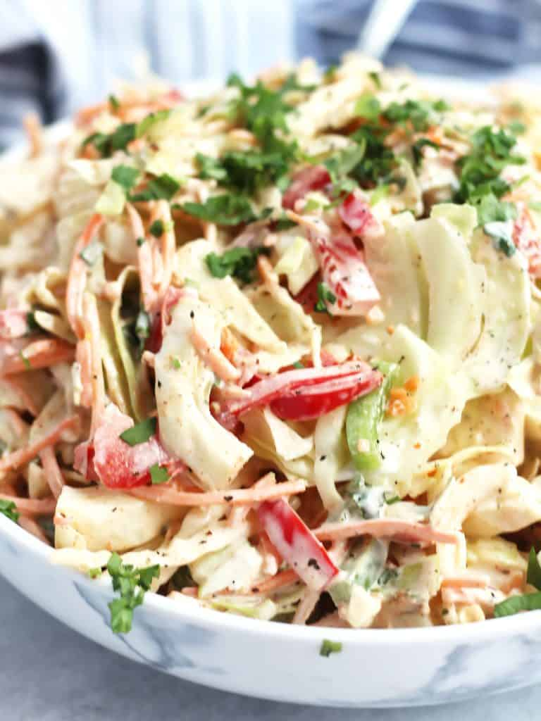 Close up of cajun slaw served in a bowl.