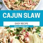 Pinterest graphic. Cajun slaw with text.
