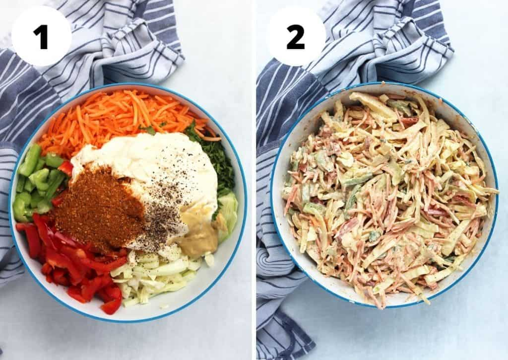 Two step by step photos to show how to make the slaw.