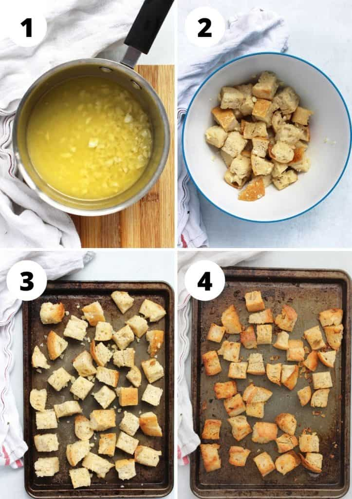 Four step by step photos to show how to make homemade croutons.