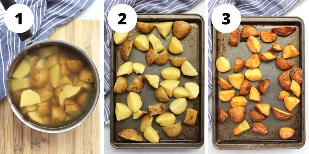 Three step by step photos to show how to roast the potatoes.