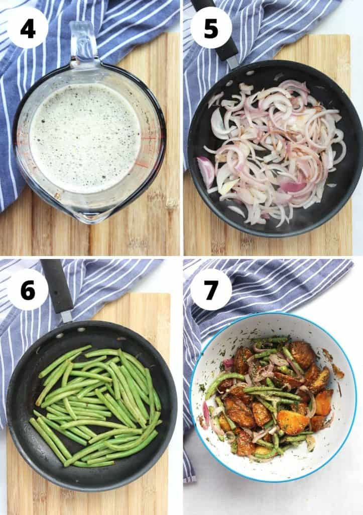 Four step by step photos to show how to make the dressing, cook the vegetables and mixing everything together.
