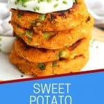 Pinterest graphic. Sweet potato cakes with text.