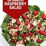 Pinterest graphic. Spinach raspberry salad with text.