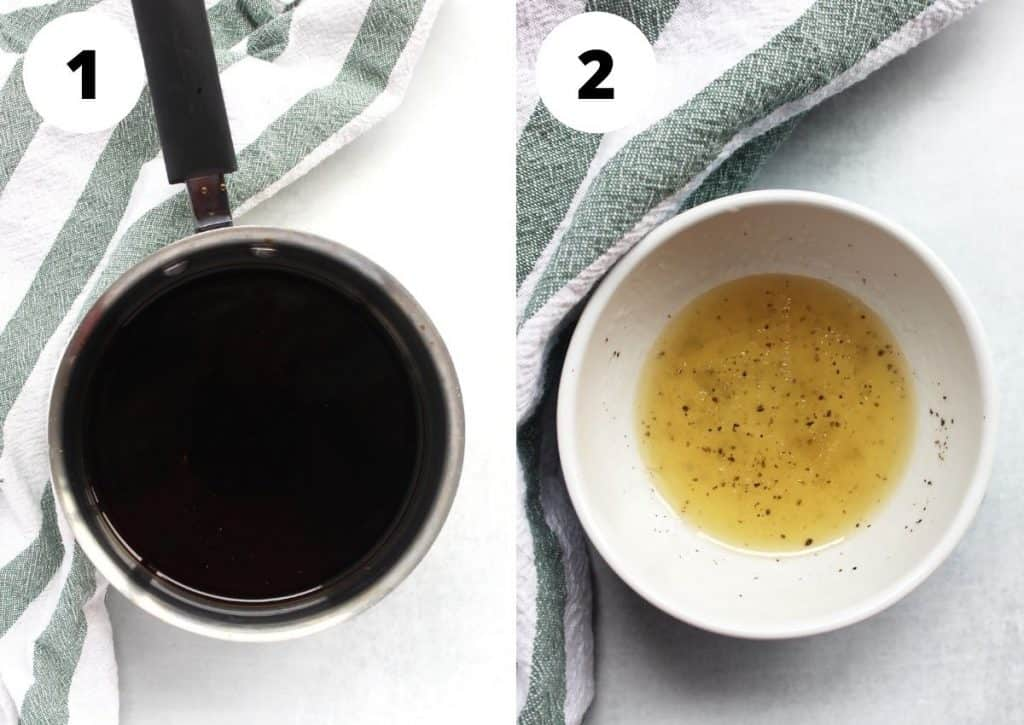 Two photos to show the balsamic reduction and salad dressing.