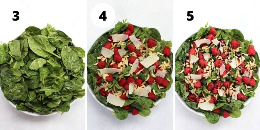 Three step by step photos to show how to make the salad.