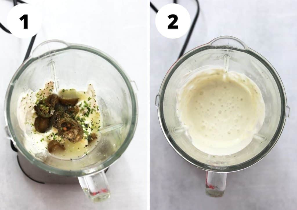Two step by step photos to show the ingredients before and after blending.