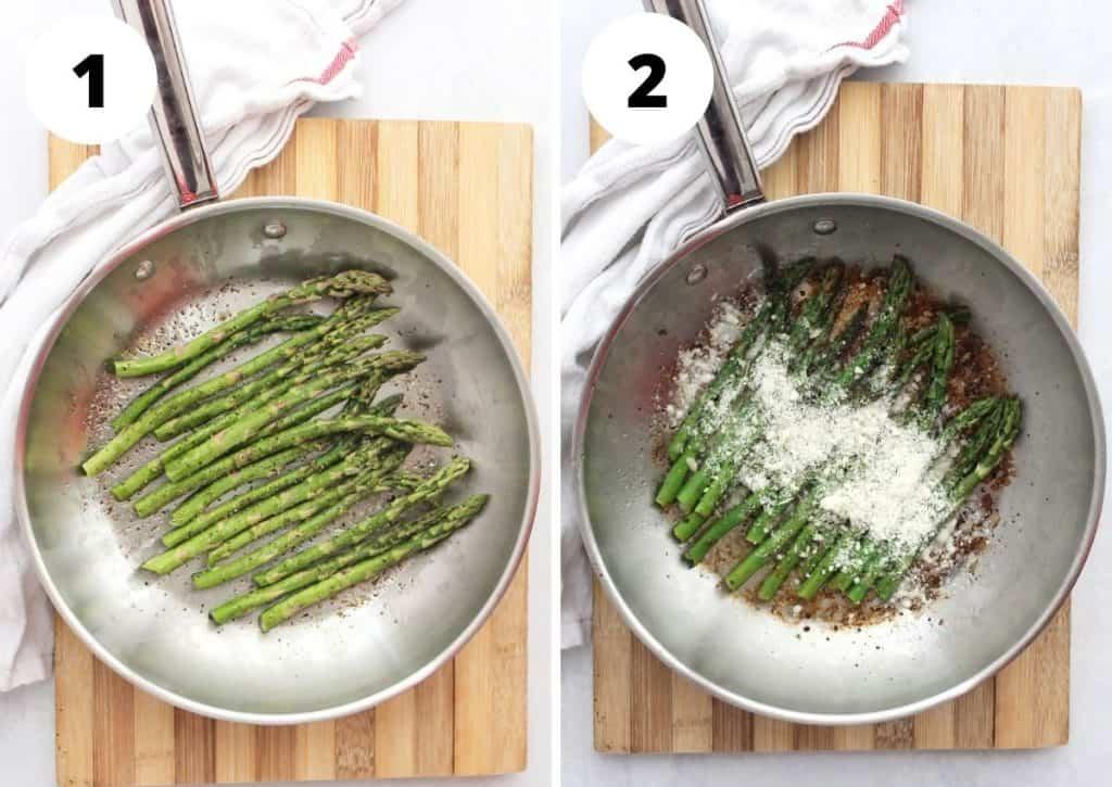 Step by step photos to show how to saute the asparagus.