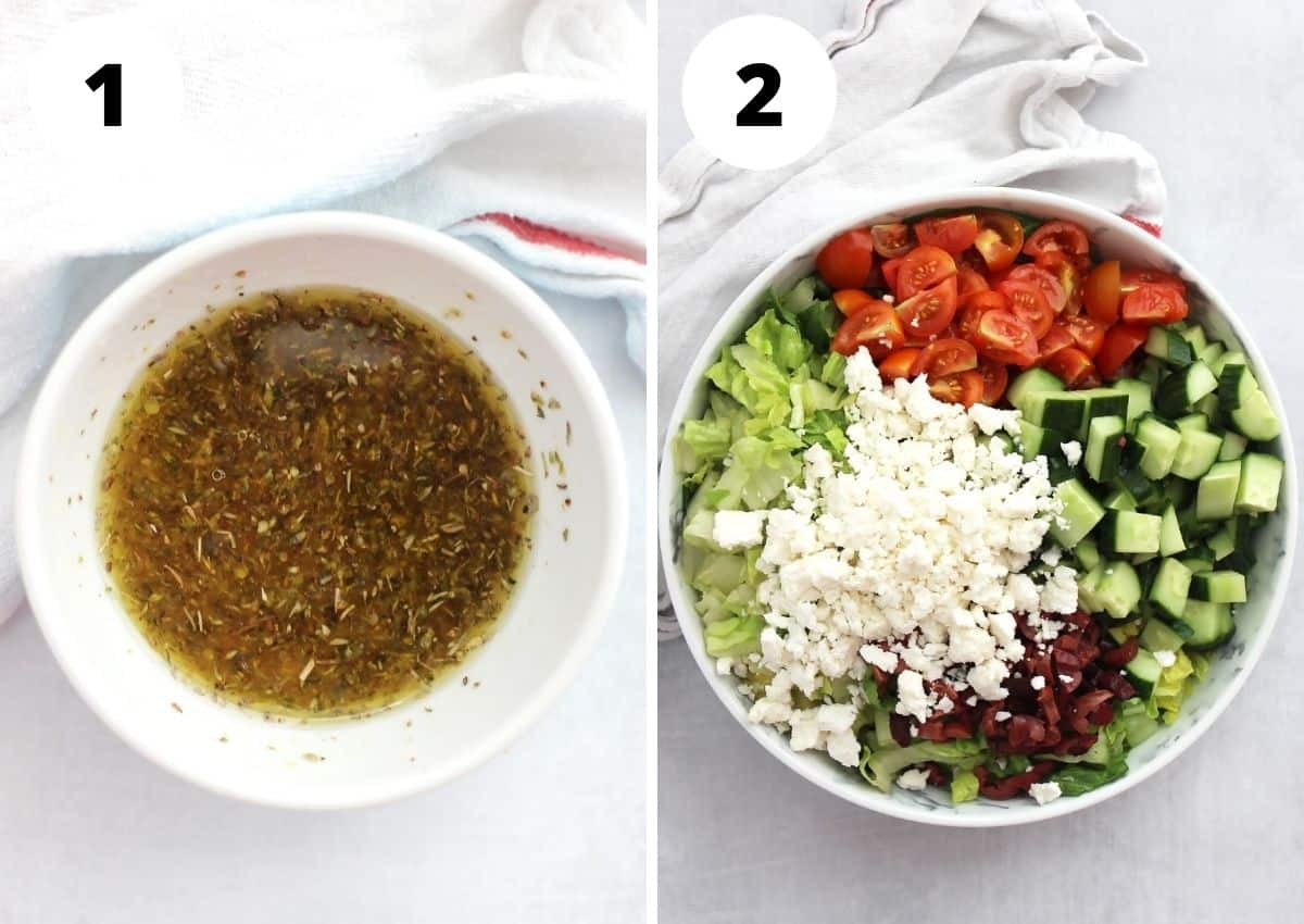 Two photos to show the salad dressing and salad ingredients in a bowl.
