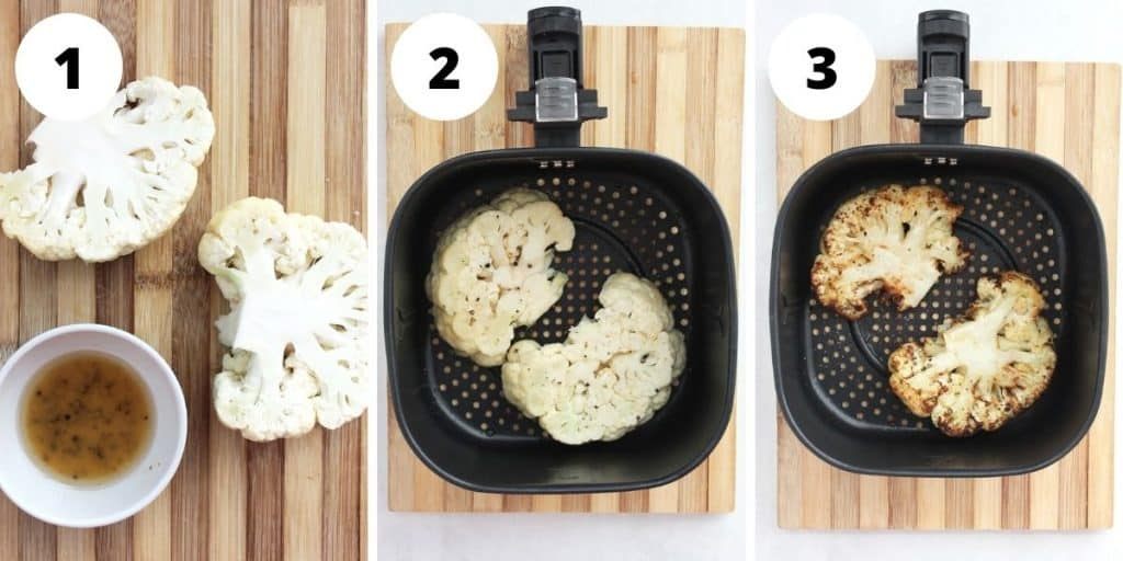 Three step by step photos to show how to make and cook the cauliflower.