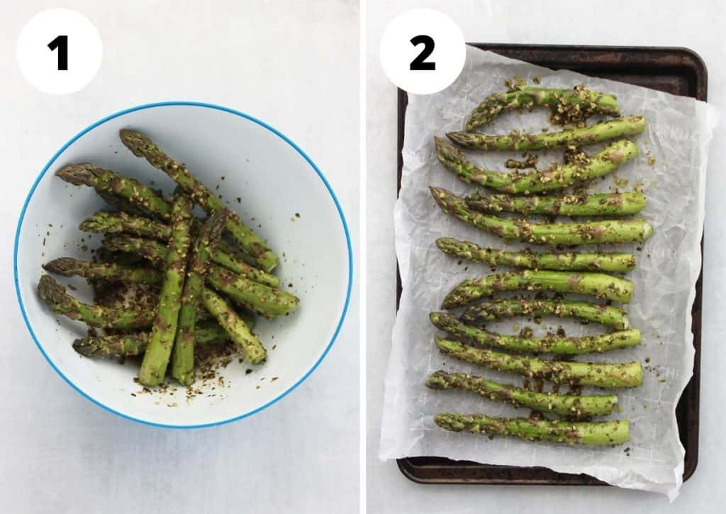Two step by step photos showing how to prep the asparagus before roasting.