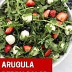 Pinterest graphic. Red white and blue salad with text.