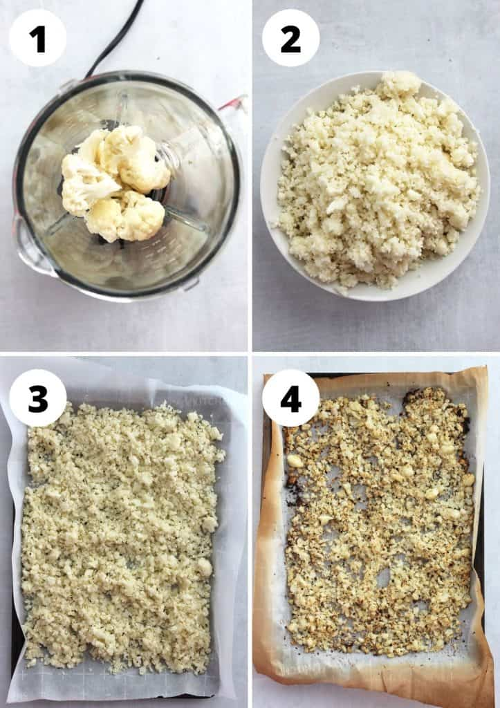 Four step by step photos to show how to make roasted cauliflower rice from scratch.