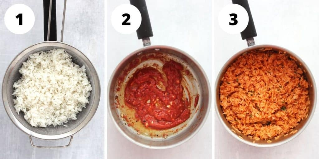 Three step by step photos to show how to cook and season the rice.