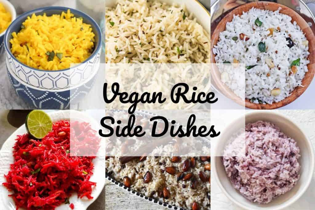 Collage of vegan rice recipes with text.