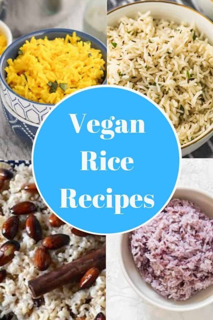 Pinterest graphic. Vegan rice recipes collage with text.