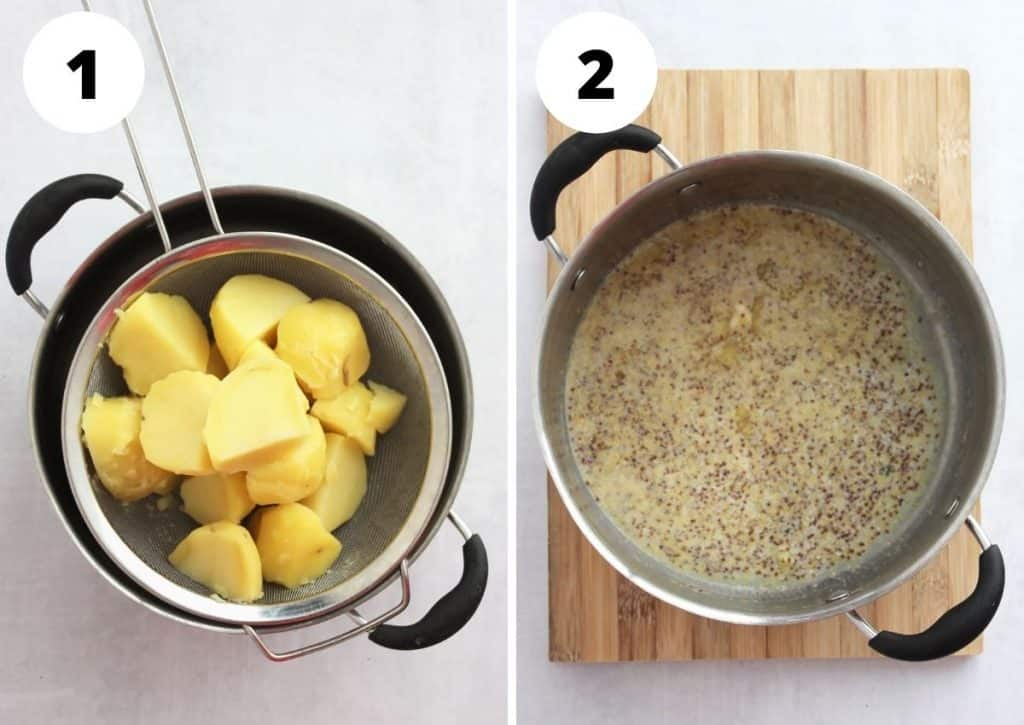 Two photos to show the boiled potatoes and the mustard mix in a large pot.