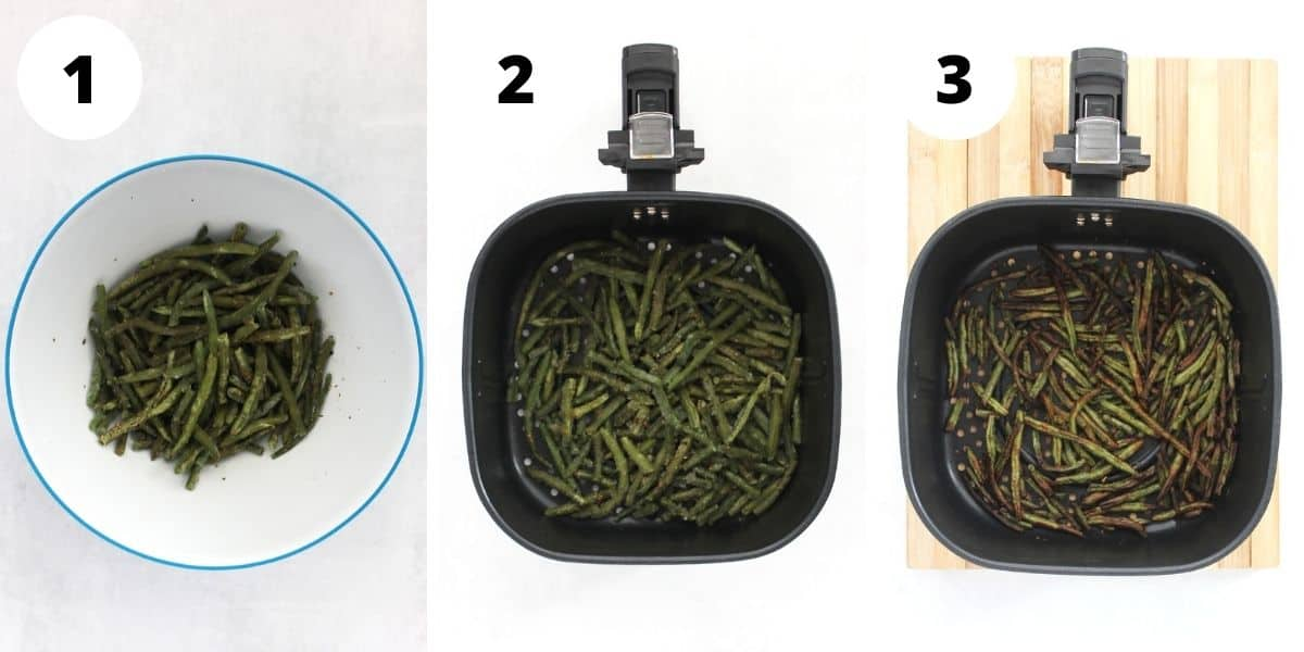 Three step by step photos to show how to season and cook the beans.