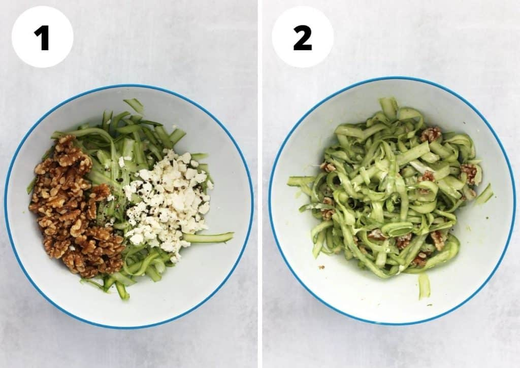 Two step by step photos to show how to make the salad.
