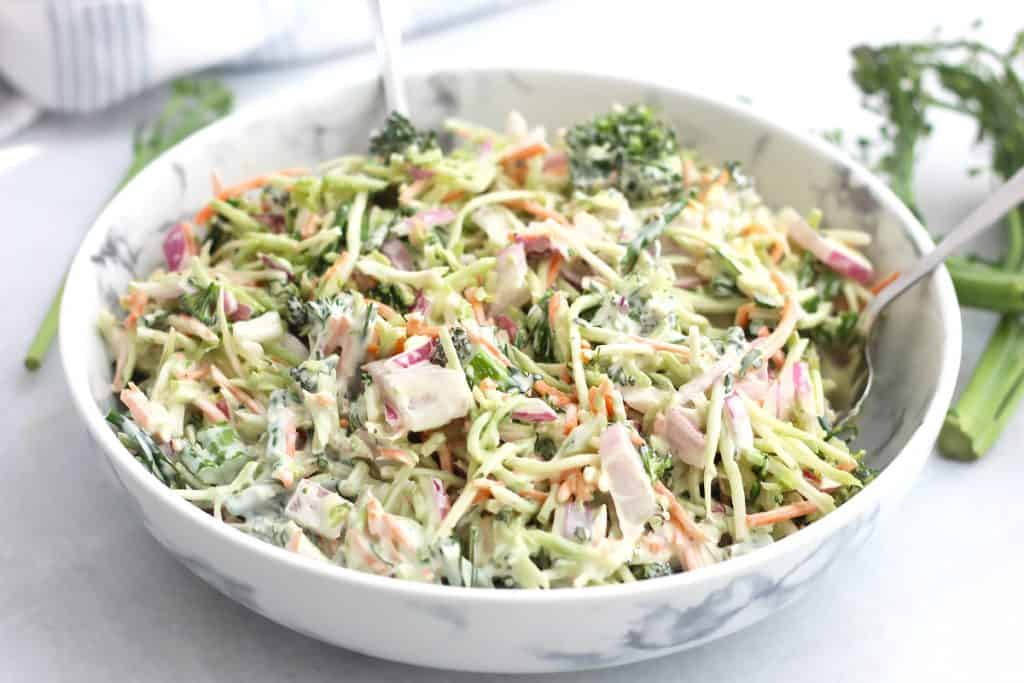 Broccolini slaw in a large serving bowl.