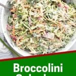 Pinterest graphic. Broccolini slaw with text.
