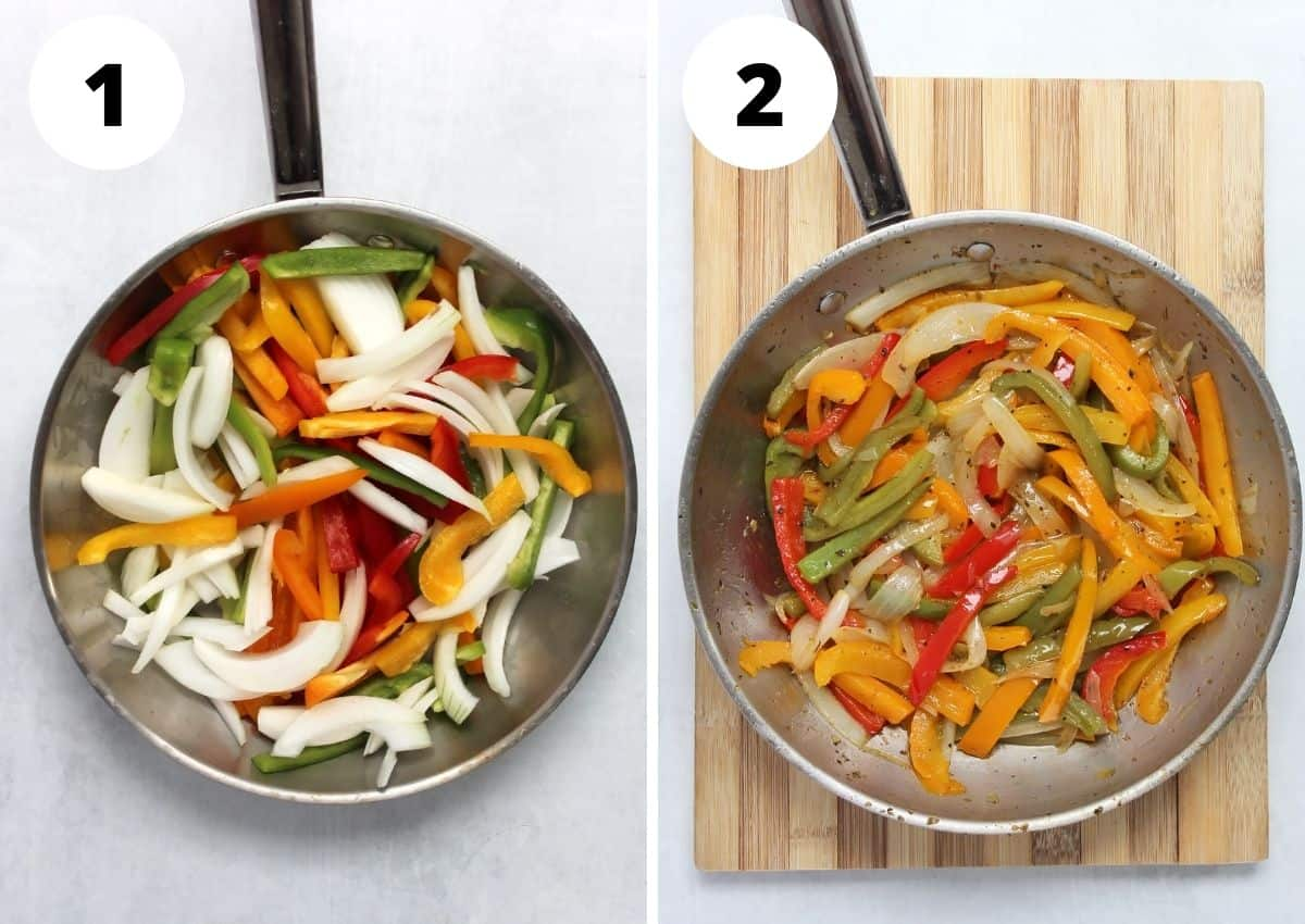 Two step by step photos to show how to cut and cook the vegetables.
