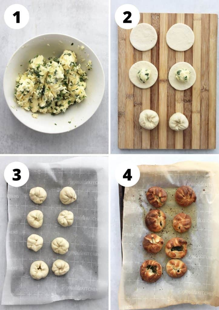 Four step by step recipes to show how to make and cook the recipe.