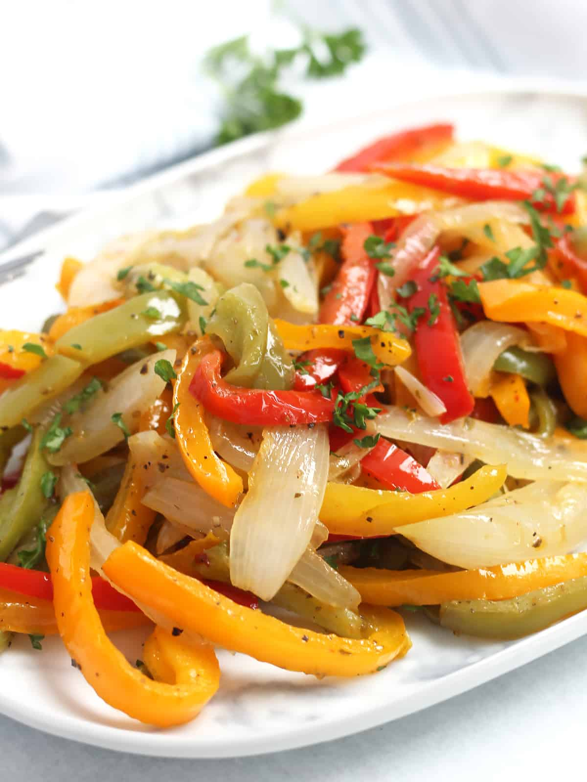 Close up of the cooked vegetables.