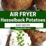 Pinterest graphic. Air fryer hasselback potatoes with text overlay.