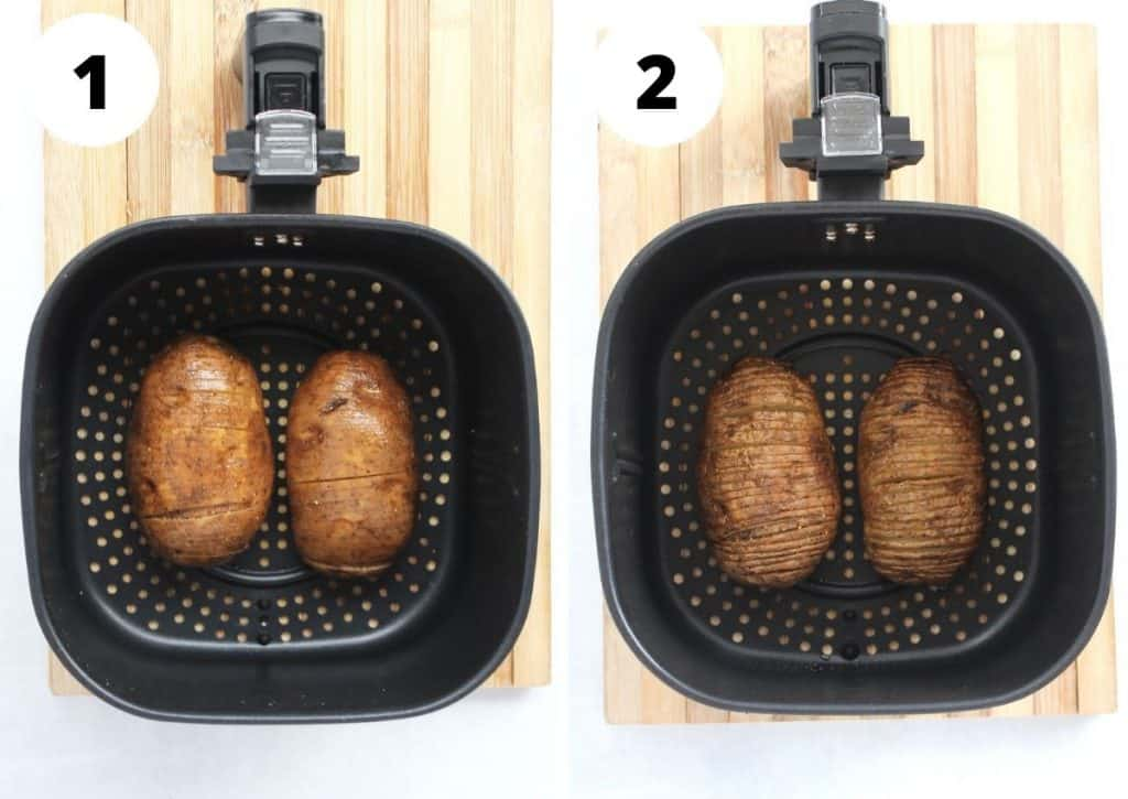 Two step by step photos to show the potatoes in the air fryer basket before and after cooking.
