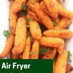 Pinterest graphic. Air fryer baby carrots with text overlay.