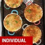 Pinterest graphic. Individual potato gratin with text overlay.