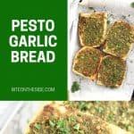 Pinterest graphic. Pesto garlic bread with text overlay.